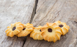 Close up cookies on wooden table Royalty Free Stock Photo