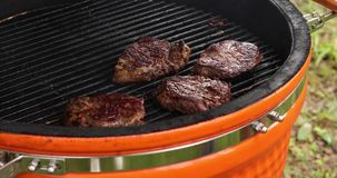 Close-up cooking juicy appetizing meat steak at outdoor barbeque on grill stock video