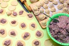 Close up of   cooking meat dumplings Royalty Free Stock Photos