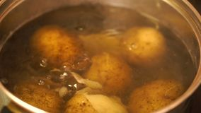 The cooking potatoes. Close up of the cooking potatoes stock video footage