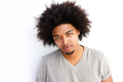 Close up cool young black guy with afro Royalty Free Stock Image