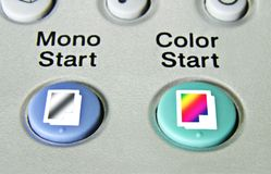 Close up of copier start buttons Royalty Free Stock Images