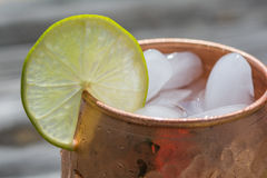 Close up of copper mug with lime Stock Image