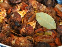 Coq au vin. Close up of coq au vin in a pan, traditional food concept Royalty Free Stock Photos