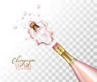 Close up cor-de-rosa realístico da explosão do champanhe do vetor foto de stock royalty free