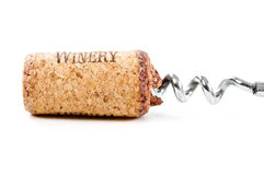 Close up of cork. Close up of bottle opener and cork of wine bottle on white Royalty Free Stock Image