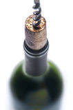 Close-up of a cork in a wine bottle. Close-up of a cork with a corkscrew in a red wine bottle. Shot with a shallow depth of field royalty free stock photography