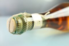 Close-up of a corked bottle stock photo
