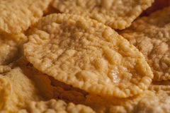 Close-up of Corn flake. Amids other flakes Stock Photos