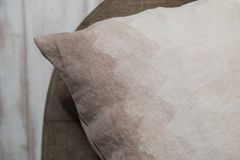 Close Up of Corner of Pillow with Gradient Brown Zigzag Stock Photos