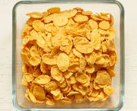 Close up of cornflakes. Children's breakfast:  heap of cornflakes on plate Stock Images