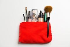 Close up of cosmetic bag with makeup stuff Royalty Free Stock Photos