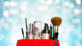 Close up of cosmetic bag with makeup stuff Royalty Free Stock Photography