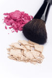 Close up of cosmetic products. Close up of facial powder and blush with cosmetic brush Stock Photography