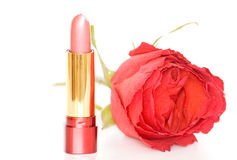 Close up cosmetics and red rose Stock Photography