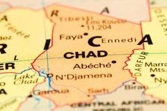 Chad on a map. Close up of the country of Chad on a World map Royalty Free Stock Photo