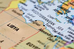 Libya on a map. Close up on the country of Libya on a world map Stock Image