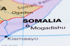 Somalia on a map. Close up of the country of Somalia on a World map stock image