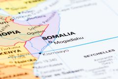 Somalia on a map. Close up of the country of Somalia on a World map stock photo