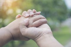 Close up on a couple of Asain male and female hands holding at green garden background. Hand help and hope concept,helping hand Stock Images