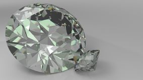 Close up of a couple diamonds on a grey background. 3d Royalty Free Stock Photo
