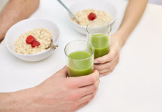 Close up of couple having breakfast at home Royalty Free Stock Photography