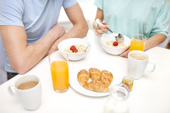 Close up of couple having breakfast at home Stock Photography