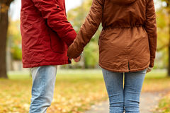 Close up of couple holding hands in autumn park. Love, relationships, season and people concept - close up of happy young couple holding hands in autumn park Royalty Free Stock Photography