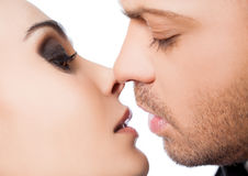 Close-up couple kiss Stock Photography