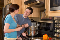 Close-up of Couple in the Kitchen - Horizontal Royalty Free Stock Photos