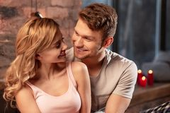 Close up of couple looking into each other eyes spending evening together royalty free stock image