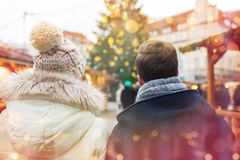 Close up of couple in old town at christmas Royalty Free Stock Photography