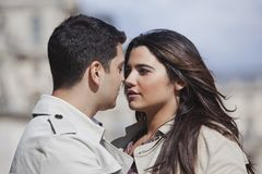 Close up of a couple romancing. Looking each other Royalty Free Stock Images