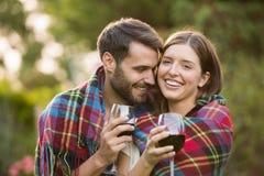 Close-up of couple romancing. At park stock photos