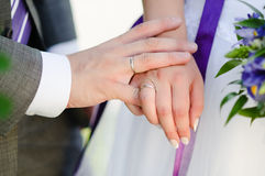 Close-up of couple's hands with wedding rings. Newlyweds holding hands, their weddingbands showing Royalty Free Stock Photo