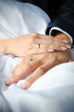 Close-up of couple's hands with wedding rings. Newlyweds holding hands, their weddingbands showing Stock Photo