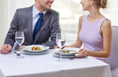 Close up of couple talking at restaurant Stock Photography