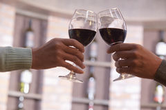 Close Up of Couple Toasting, Hands and Wineglass only Royalty Free Stock Photography