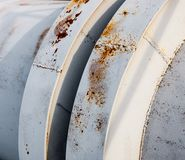 Close up of the coupling of the metal pipeline Stock Images