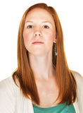 Close Up of Courageous Woman. Courageous beautiful young Caucasian female with red hair Stock Images