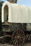 Close Up of a Covered Wagon. A covered wagon similar to the type that would be used to transport Americans to the wild west in the 18th Century stock photo