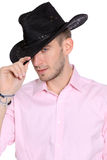 Close up of a cowboy Stock Image