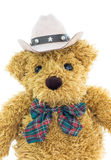 Close up cowboy teddy bear on white Stock Photography