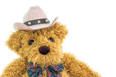 Close up cowboy teddy bear on white Royalty Free Stock Photography