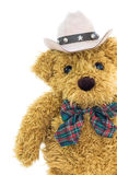 Close up cowboy teddy bear on white Royalty Free Stock Photos