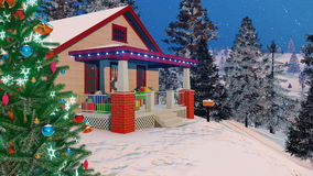 Close up of cozy house decorated for Christmas 4K stock illustration