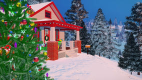 Close up of cozy house decorated for Christmas Stock Images