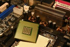 CPU Processor on PC Motherboard Royalty Free Stock Photo
