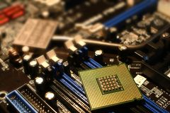 CPU Processor on PC Motherboard Royalty Free Stock Photos