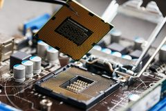 Close-up of CPU Chip Processor. Selective Focus royalty free stock image